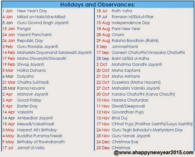 ... jpeg 97kB, New Year 2015 Calender And Holiday List Free Download India