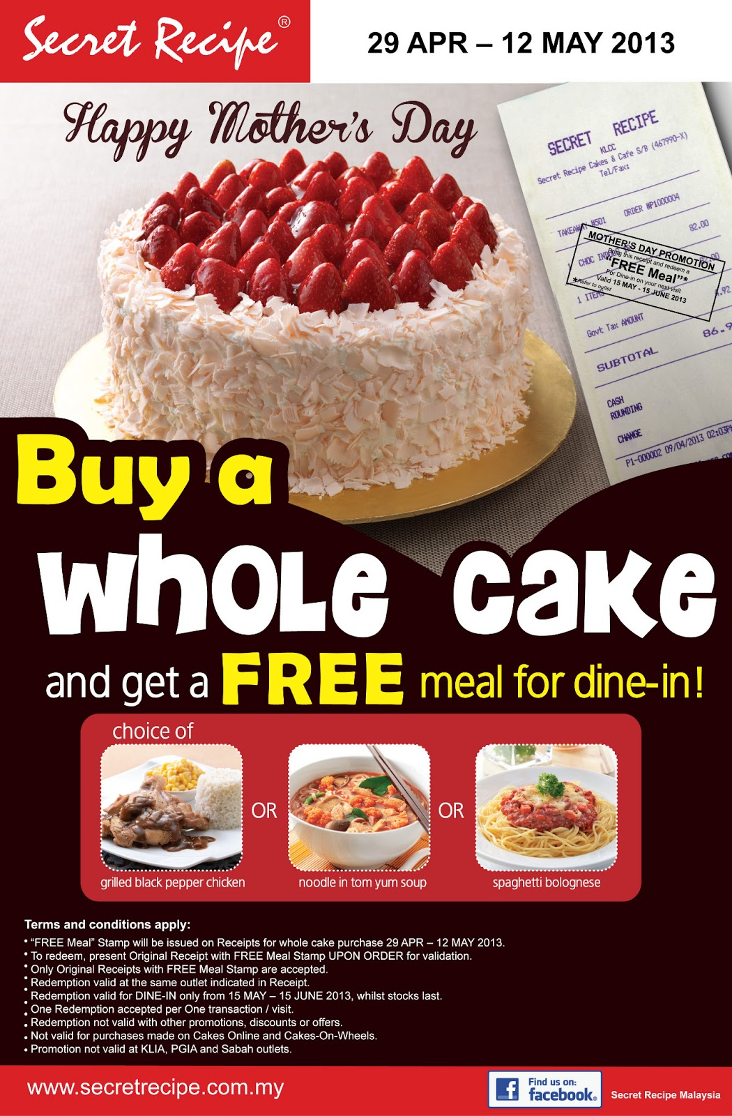I Love Freebies Malaysia Promotions Secret Recipe Mothers Day