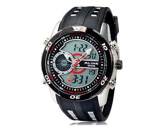 relógio esportivo masculino, resistente a água. Um relógio bom e barato, relógio preto com detalhes em vermelho, analogico digital, Resistente à água até 50 metros Suporta mês, semana, data, despertador e tem luz noturna.