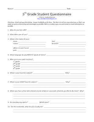 First day of school questionnaire to get to know the students