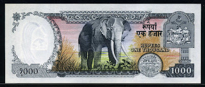 Nepal paper money currency 1000 Rupees bill