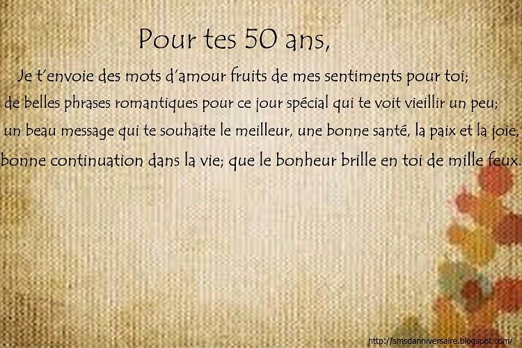 message anniversaire 50 ans