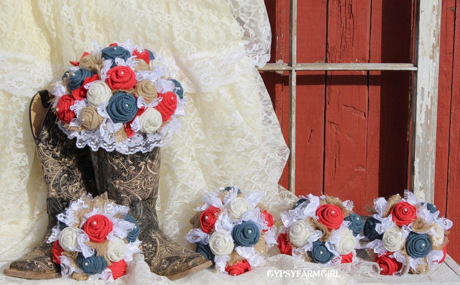 rustic Americana wedding bouquets