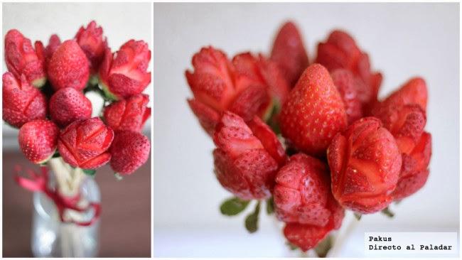Ramo de flores hecho con fresas