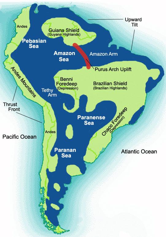 South america map brazilian highlands