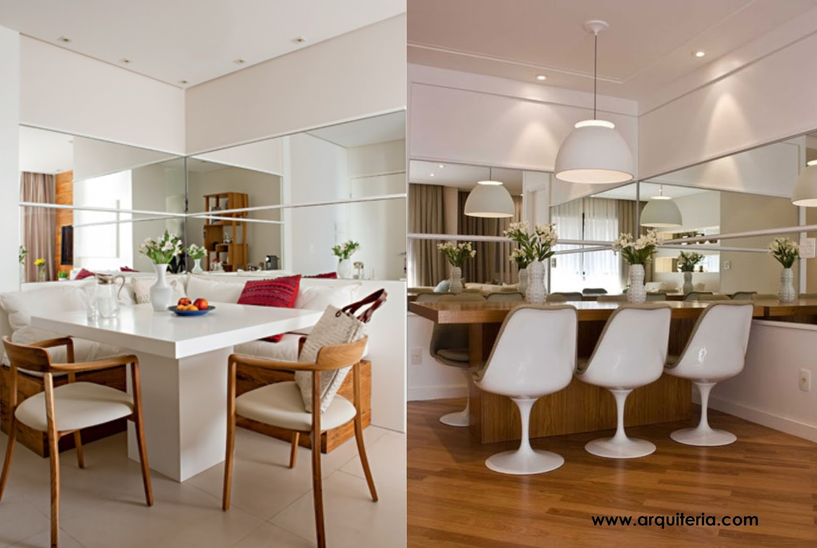 Construindo Minha Casa Clean Salas De Jantar Pequenas Mesa  -> Sala De Jantar Pequena Com Espelho Na Parede