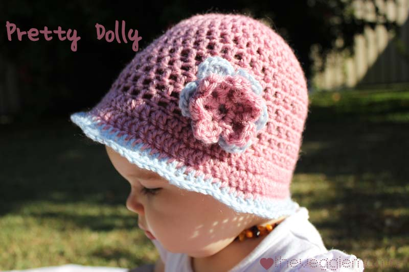 Free Crochet Patterns For Baby Toddler Hats : Veggie Mama: Free crochet pattern - Pretty Dolly baby girl hat