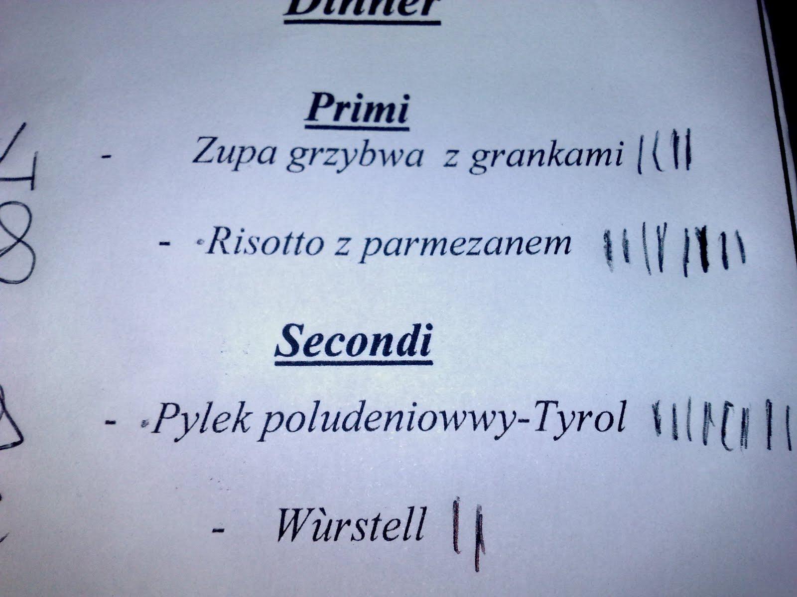 Zupa grzybwa z grankami; Pylek poludeniowwy-Tyrol