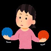 ボールを比較している人のイラスト(女性)