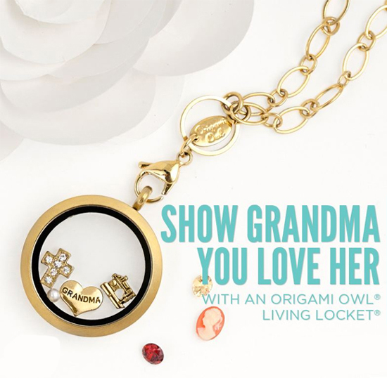 I Love Grandma Gold Origami Owl Living Locket from StoriedCharms.com
