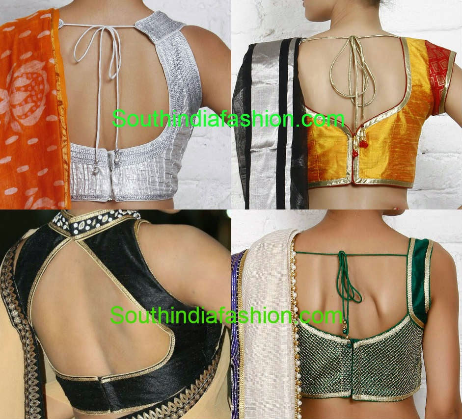 latest saree blouse back neck patterns