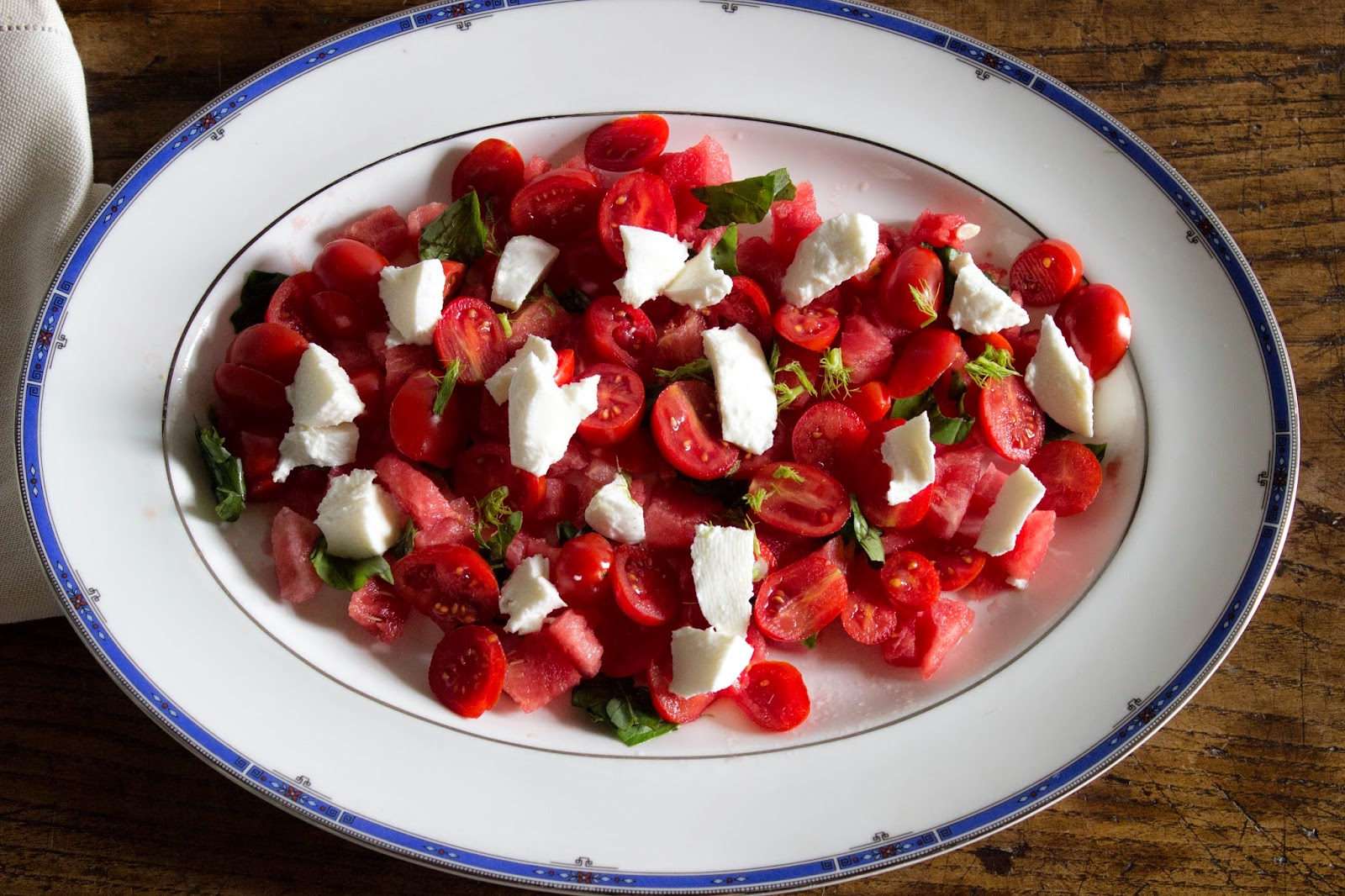 recipe watermelon salad, with tomato and mozzarella, basil