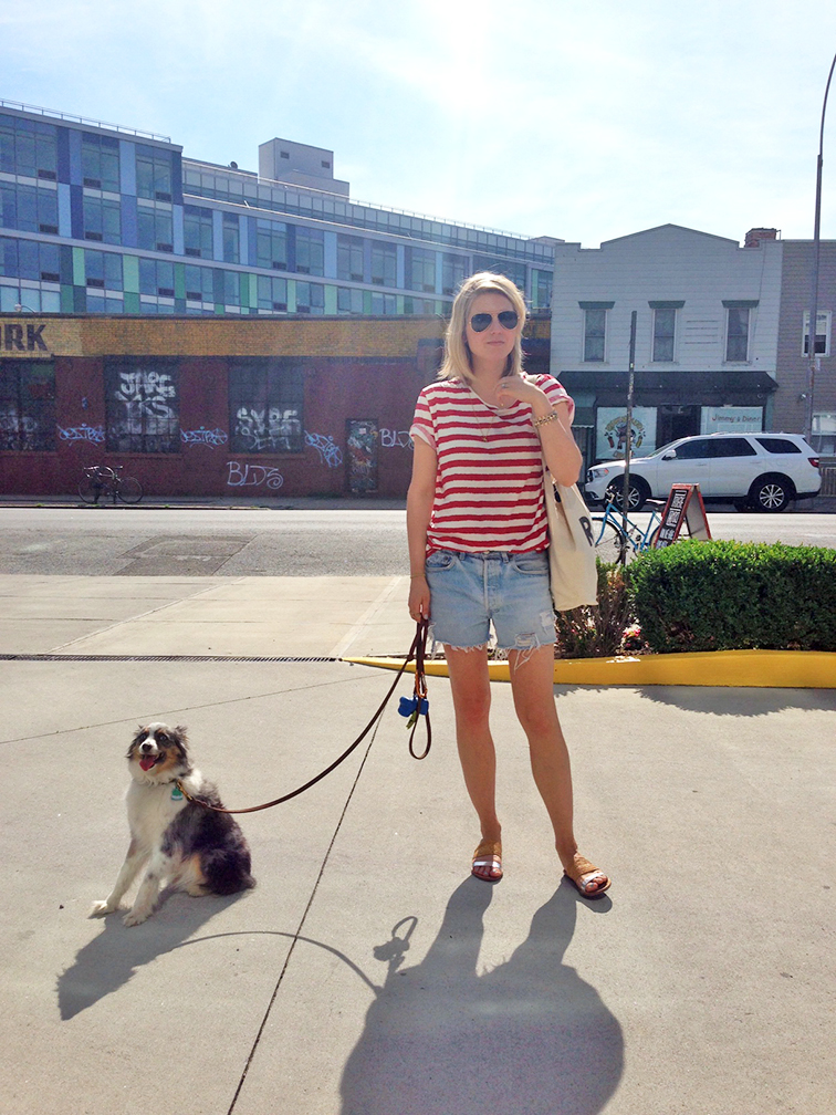 Red stripes, cutoffs, vintage levi's, Refin Denim hookup shorts, Filippa K tee, Loeffler Randall sandals, Ray-Ban aviators
