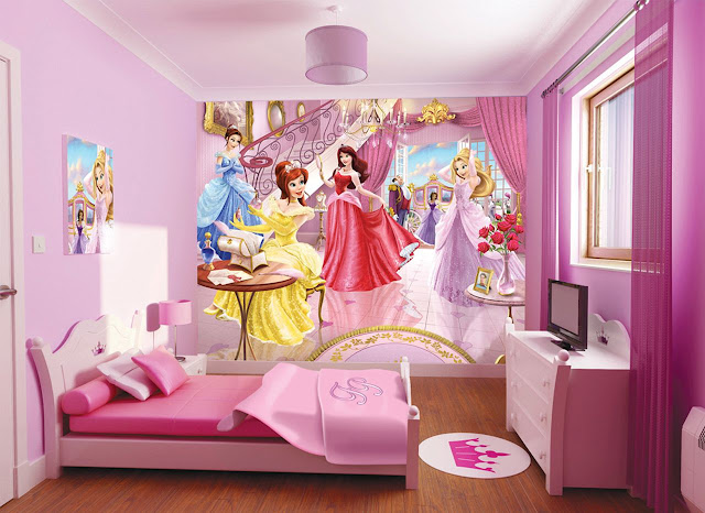 amazing pink kid bedroom in a box with single small pink bed and cinderella picture on the pink wall