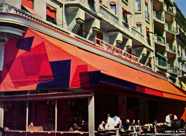 """Paris - 8ème - Aménagement du café-restaurant """"Le Rond-Point"""", Champs-Elysées.  Auteurs du projet: Jean Bailhache, Claude Parent, André Bloc  Aménagement: 1958"""