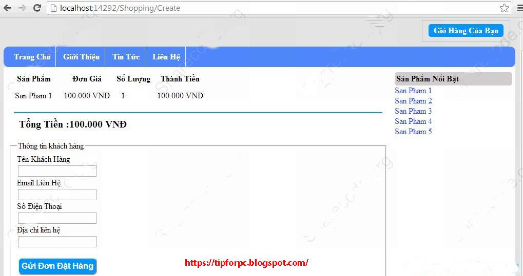 Source ASP.Net Mã nguồn Website bán hàng MVC4