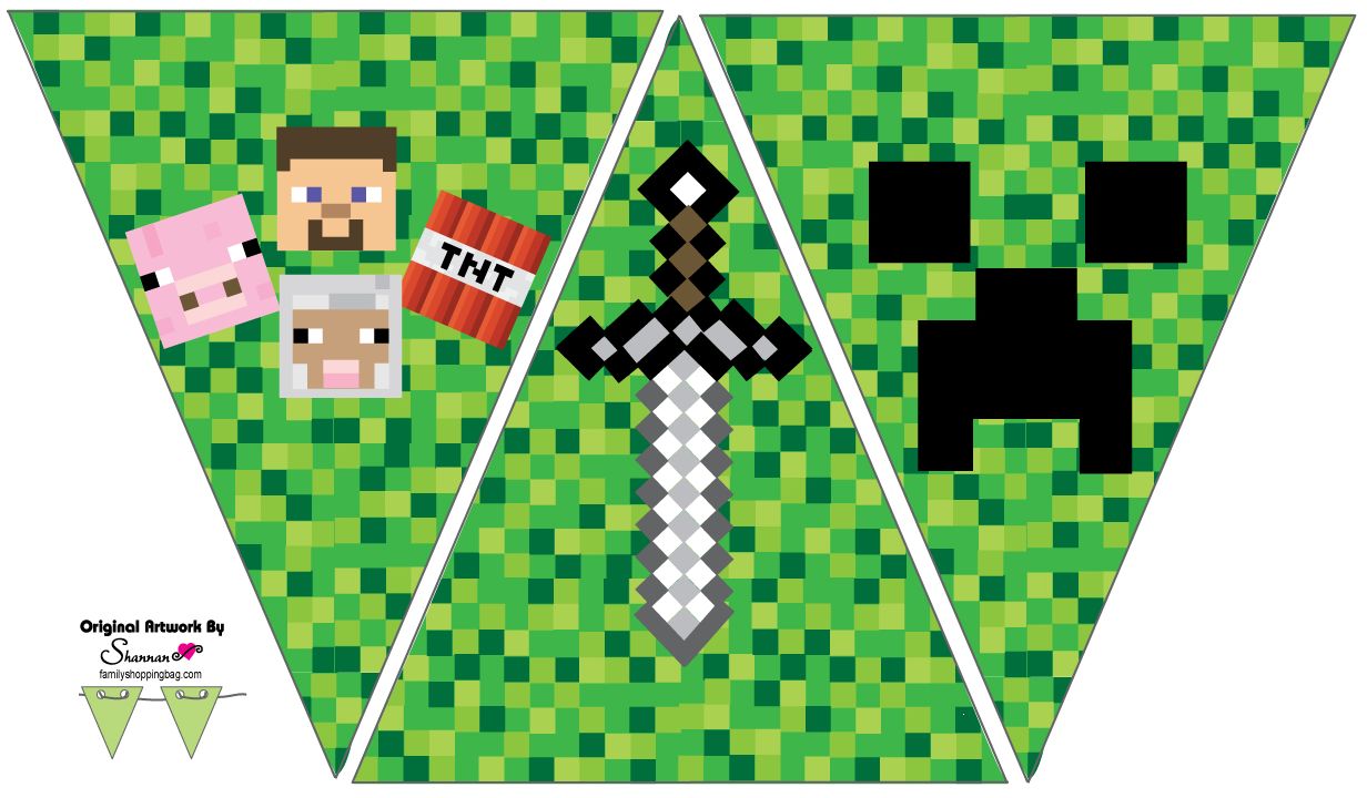 Breathtaking image within minecraft birthday banner free printable