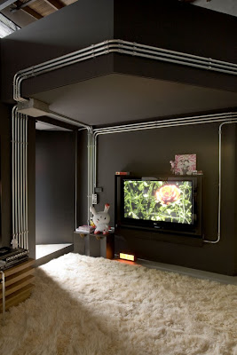 living room interior design with Plasma LCD TV