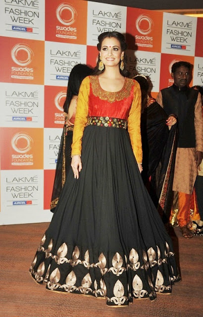 Dia Mirza in Black Floor Length Indian Anarkali Gown