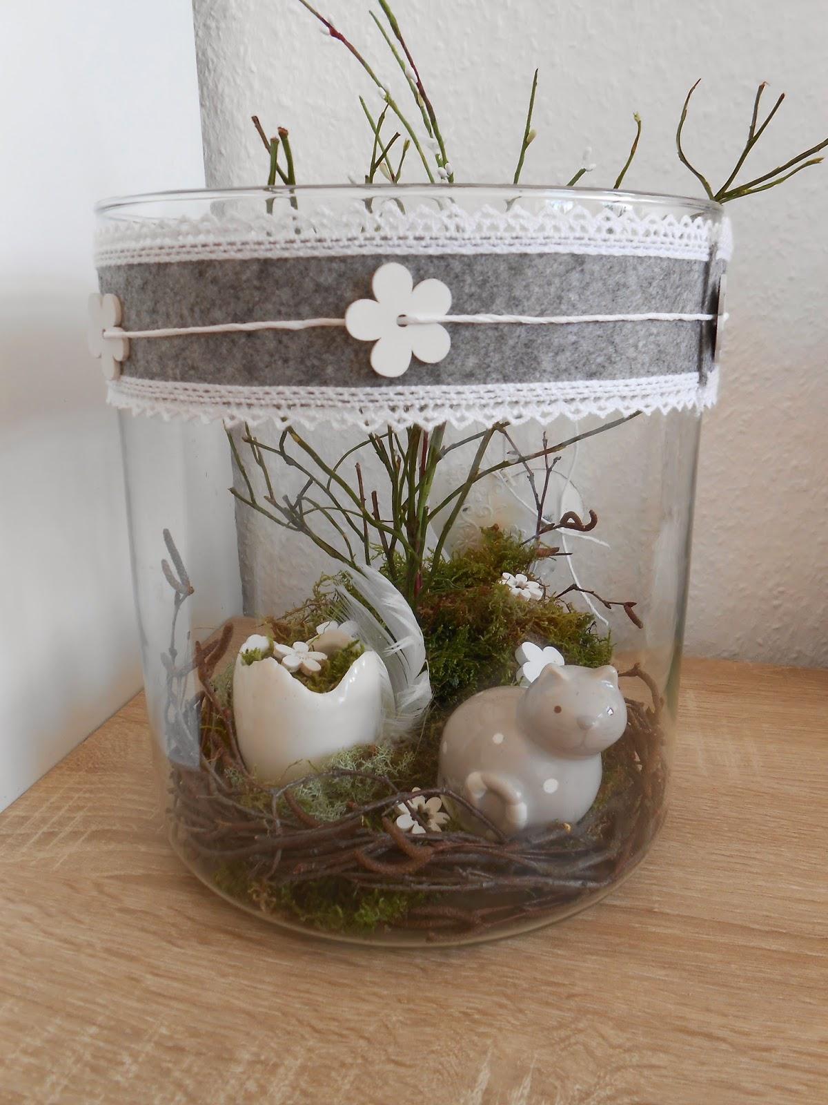 Virka keps allerlei fr hlingsdeko im glas - Glas dekorieren ...