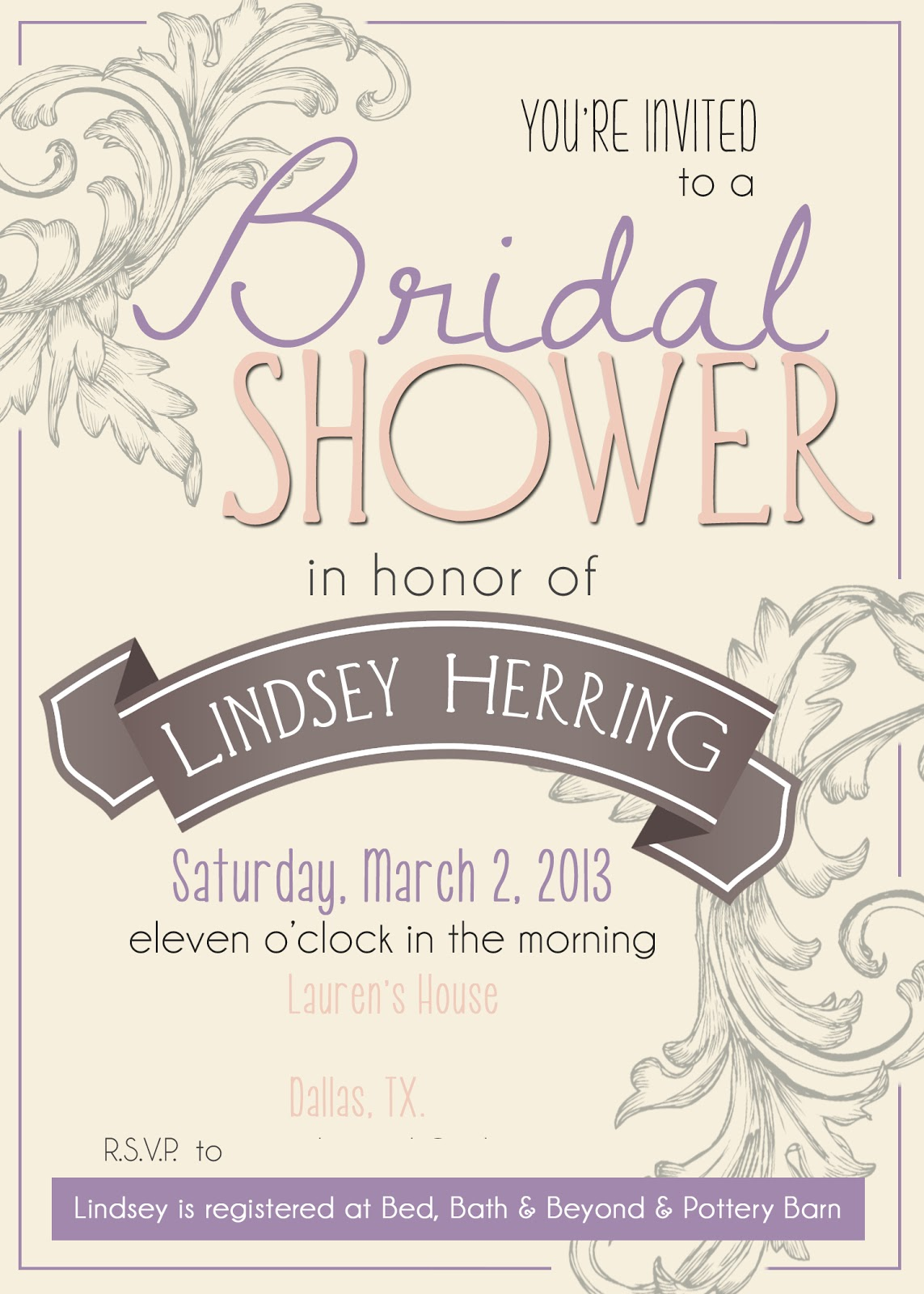 a girly bridal shower etsy wedding shower invitations We found these adorable invitations on Etsy and ordered them right away