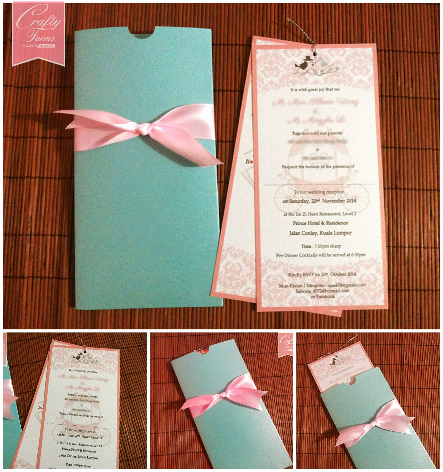 Wedding Card Malaysia | Crafty Farms Handmade : Pastel Themed Pocket ...