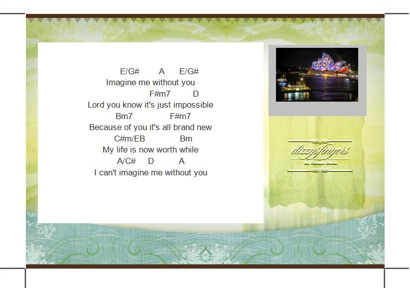 Piano without you piano chords : dizzysfingers Music: Imagine Me Without You ~ dizzysfingers cover ...