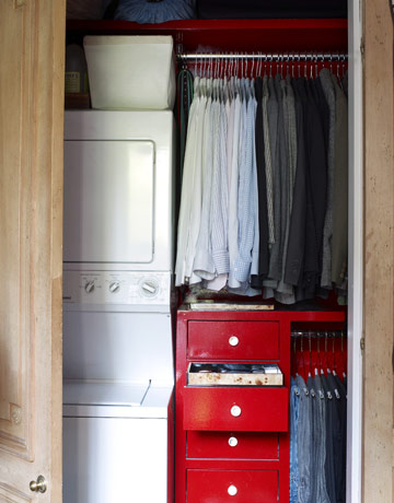 small space closet laundry combined storage