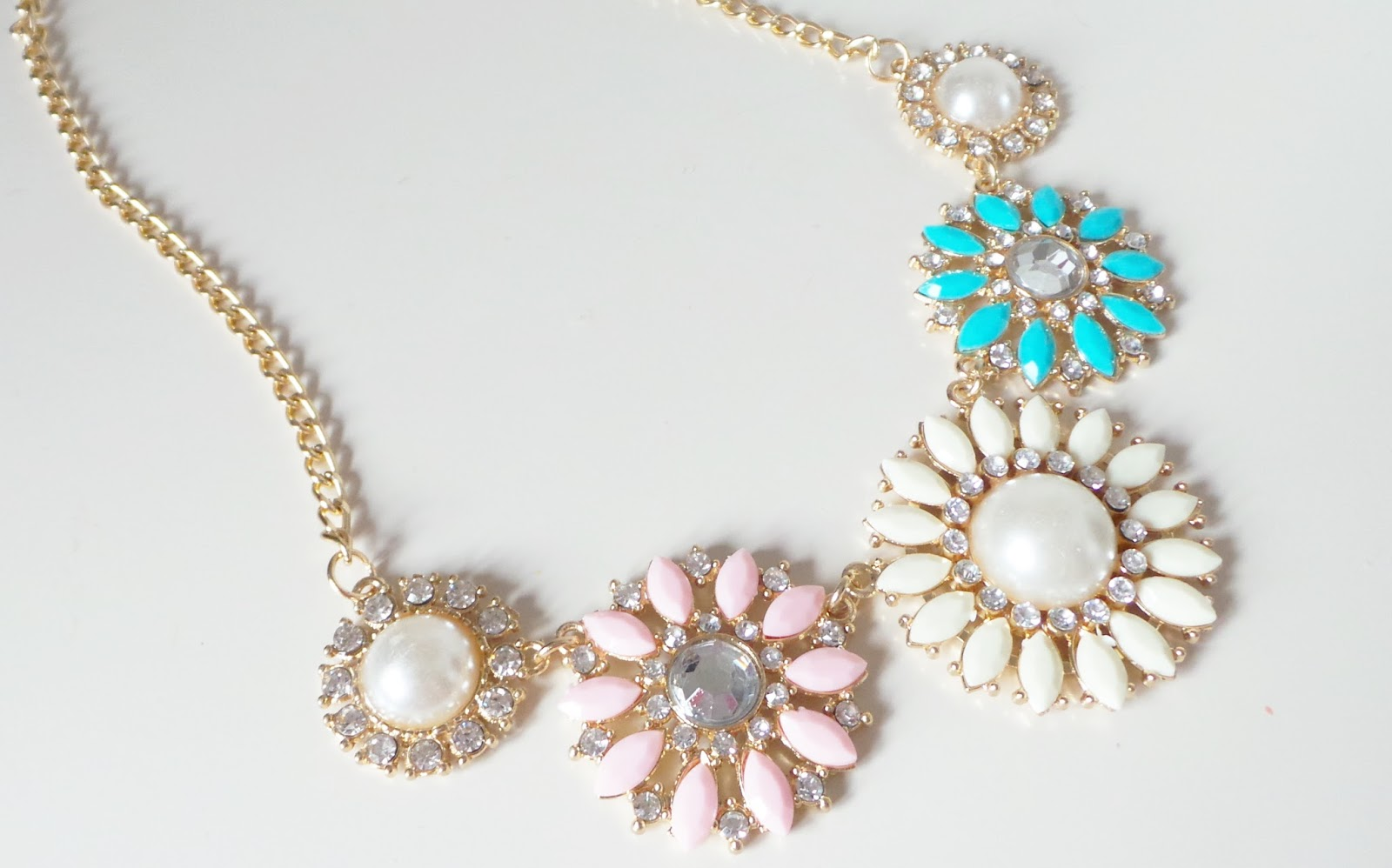 STATEMENT PASTEL FLOWER NECKLACE lauras all made up, fashion blog, fashion blogger, uk fashion blog, cheap fashion jewellery, ebay jewellery, ebay fashion jewellery, fashion, fashion statement, pretty watches, pastel necklaces, statement jewellery, statement necklace, summer jewellery, geneva watches, rose gold jewellery,