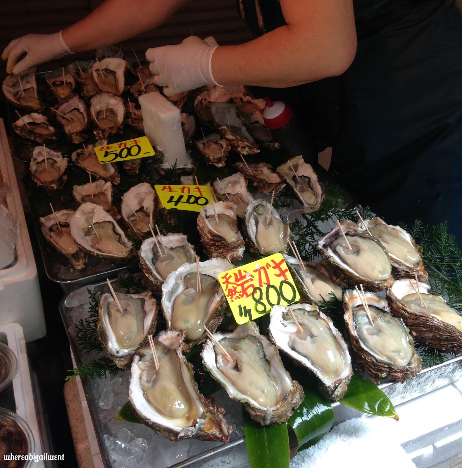 Oysters at Tsukiji Seafood Market
