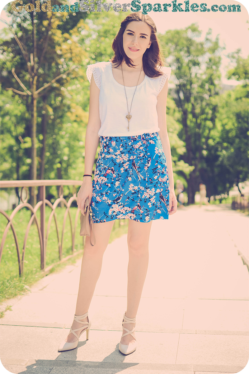 Pastoral Birds & Floral Print Empire-waist Skirt