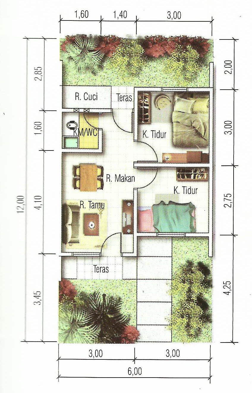 Denah Rumah Minimalis Modern 72 M2