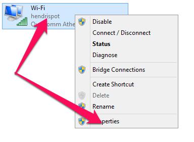 klik kanan pada modem dan pilih properties