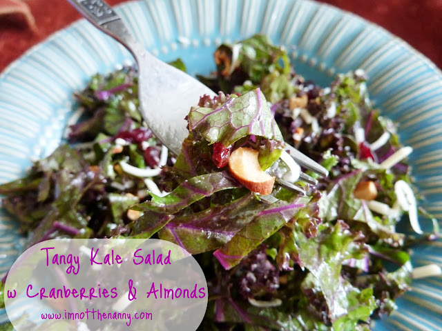 Tangy Kale Salad with Cranberries & Almonds via I'm Not the Nanny