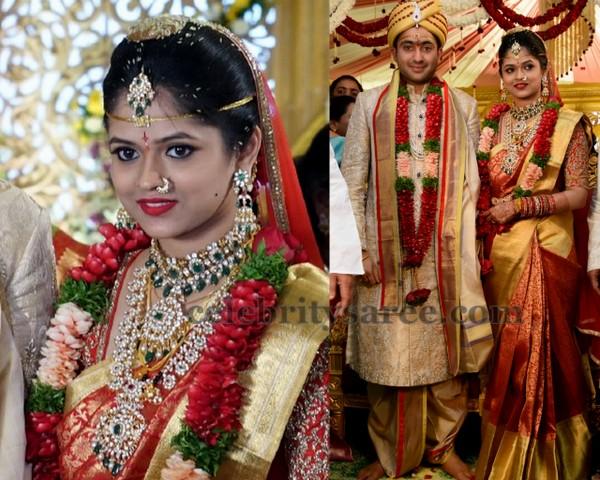 Bride Divya Gold and Orange Saree