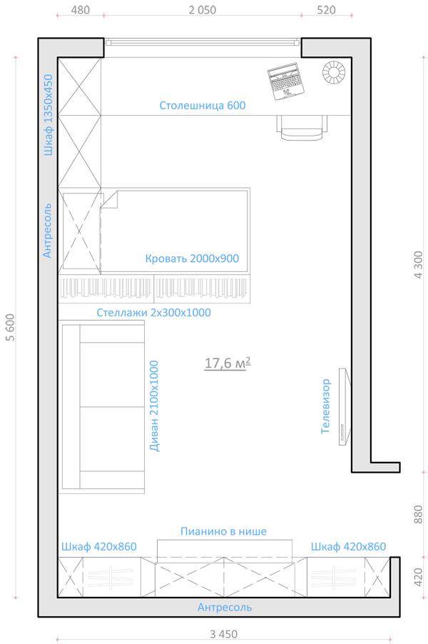 Дизайн однокомнатных квартир студий хрущевка