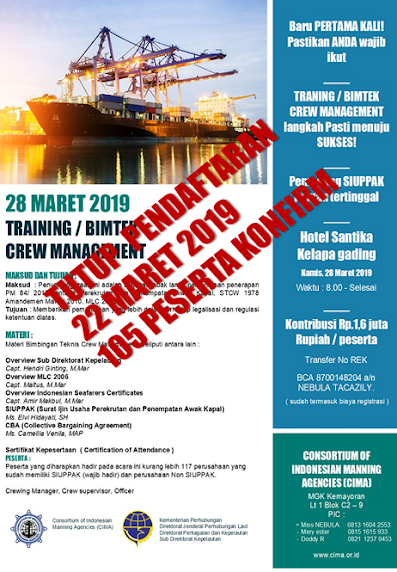"WAJIB diikuti MANNNING AGENT - Training/ BIMTEK ""CREWING MANAGEMENT"""