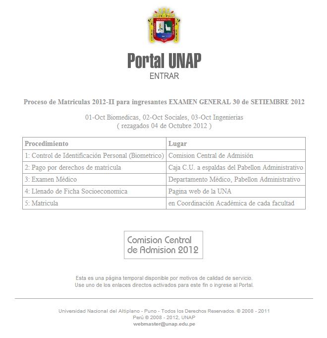 2012 2 en www.unap.edu.pe: Examen de Admision (30 de setiembre