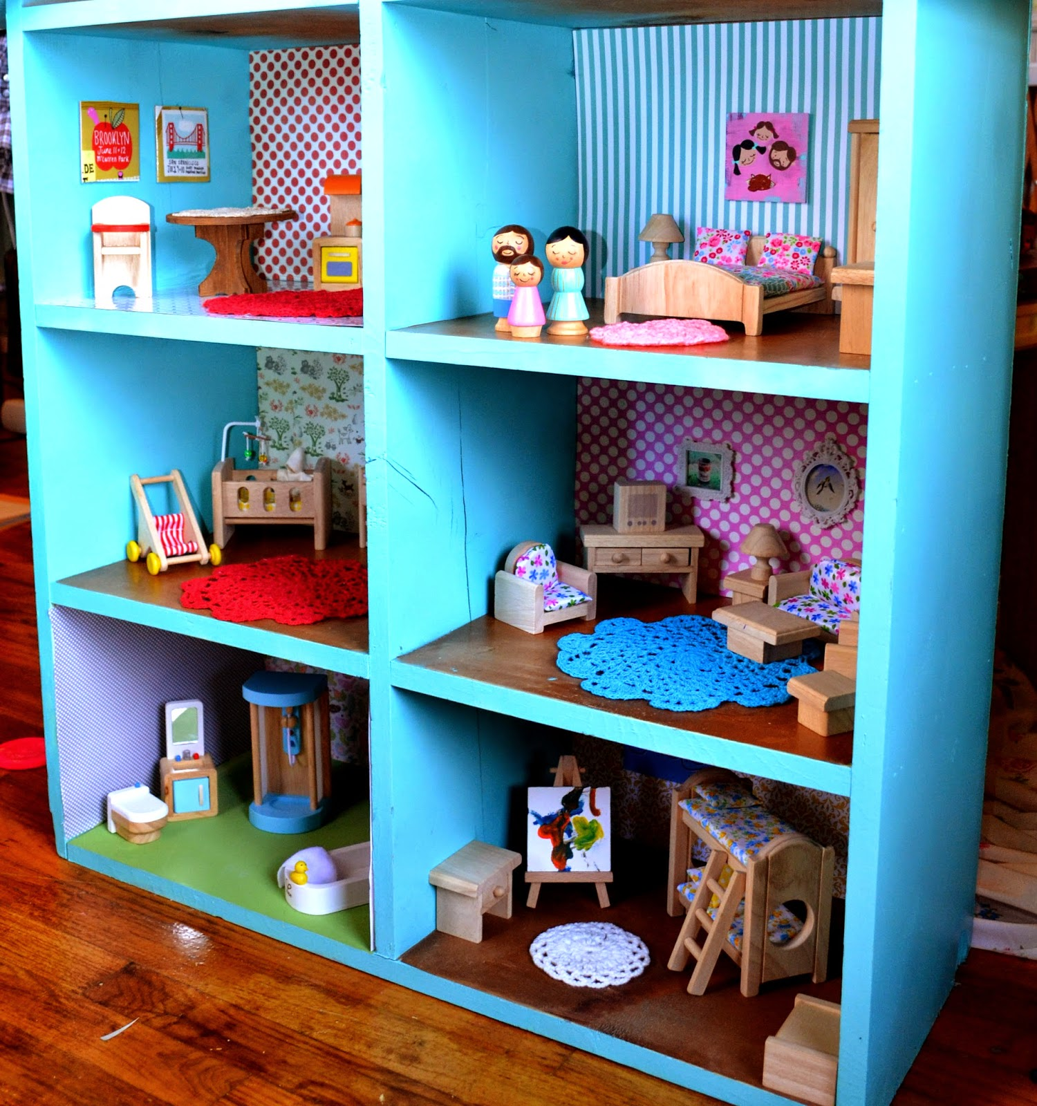 Scrapbook paper dollhouse wallpaper - These Sweet Little Peg People Resemble My Family I Have Been Meaning To Paint Our Dog On A Peg But I Have Not Gotten Around To It