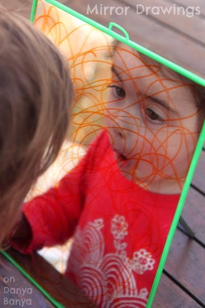 Mirror drawing with texta - easy preschooler activity
