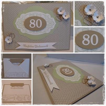kreatives aus papier karte zum 80 geburtstag. Black Bedroom Furniture Sets. Home Design Ideas