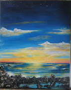 Sunset beach. Size: 400 x 500mm. Oils on blocked canvas. Price: R500 (sunset on beach)