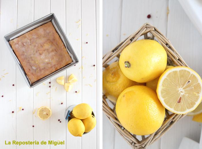 En una misma linea nos presentan dos fotos diferentes. Las dos son de vista panorámicas la de izquierda molde con el brownie dentro limones partidos por la mesa y en una esquina el cubo de hojalata con limones. Todo ello sobre una mesa de madera lacada blanca. La foto de la derecha vemos un cesto de mimbre con limones enteros y partidos por la mitad, sobre la mesa de madera lacada blanca.