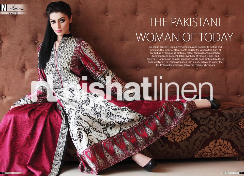 nishat linen winter sateen collection 2012 2013 asian clothing. Black Bedroom Furniture Sets. Home Design Ideas