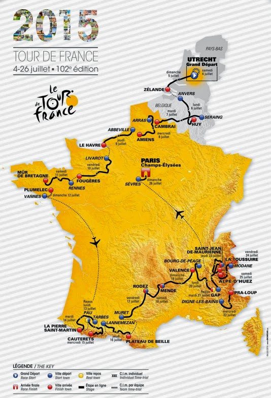 Route of 2015 Tour de France
