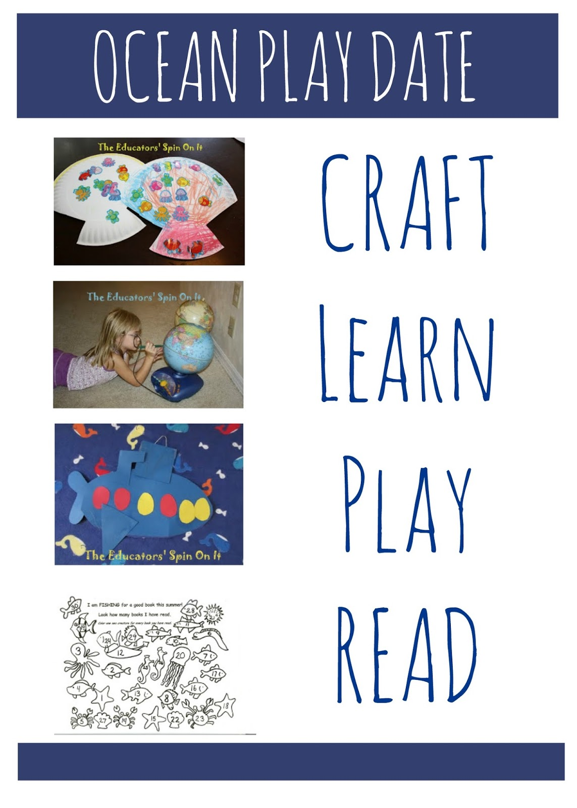 Plan an Ocean Themed Play Date: Craft, Story, Activity and MORE #EDUSpin