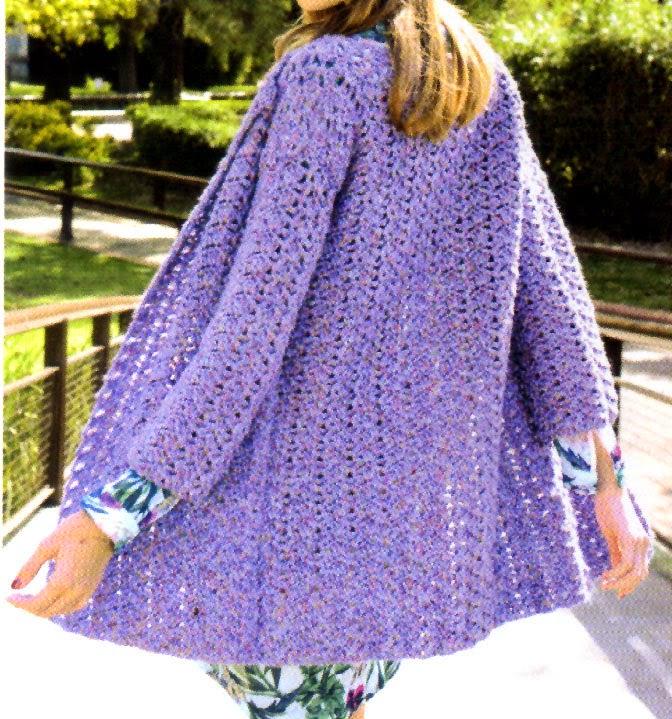 saco folk tejido en crochet en tono lila