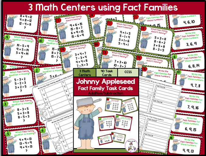 Johnny Appleseed Fact Family Task Cards-3 Centers