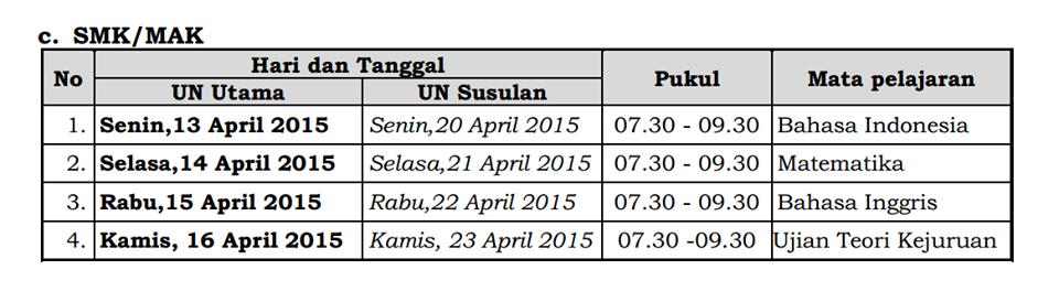 Jadwal UN SMK/MAK 2015
