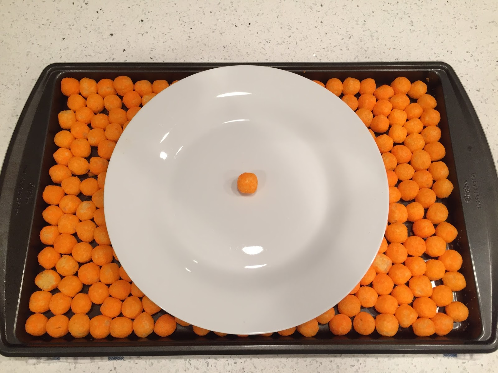 Cheeseball Estimation 180. Earlier this week I tweeted out a new Estimation 180 challenge How many cheeseballs will cover the plate? & Divisible by 3 [Andrew Stadel]: Cheeseball Estimation 180